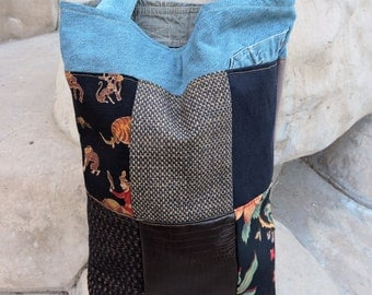 Eco friendly salvaged Patchwork tote bag laptop bag book bag with denim