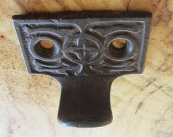 Gothic 19th Century Cast Iron Window Sash - Stormy Patina - Assemblage Steampunk Pendant - Old Ornate Hardware