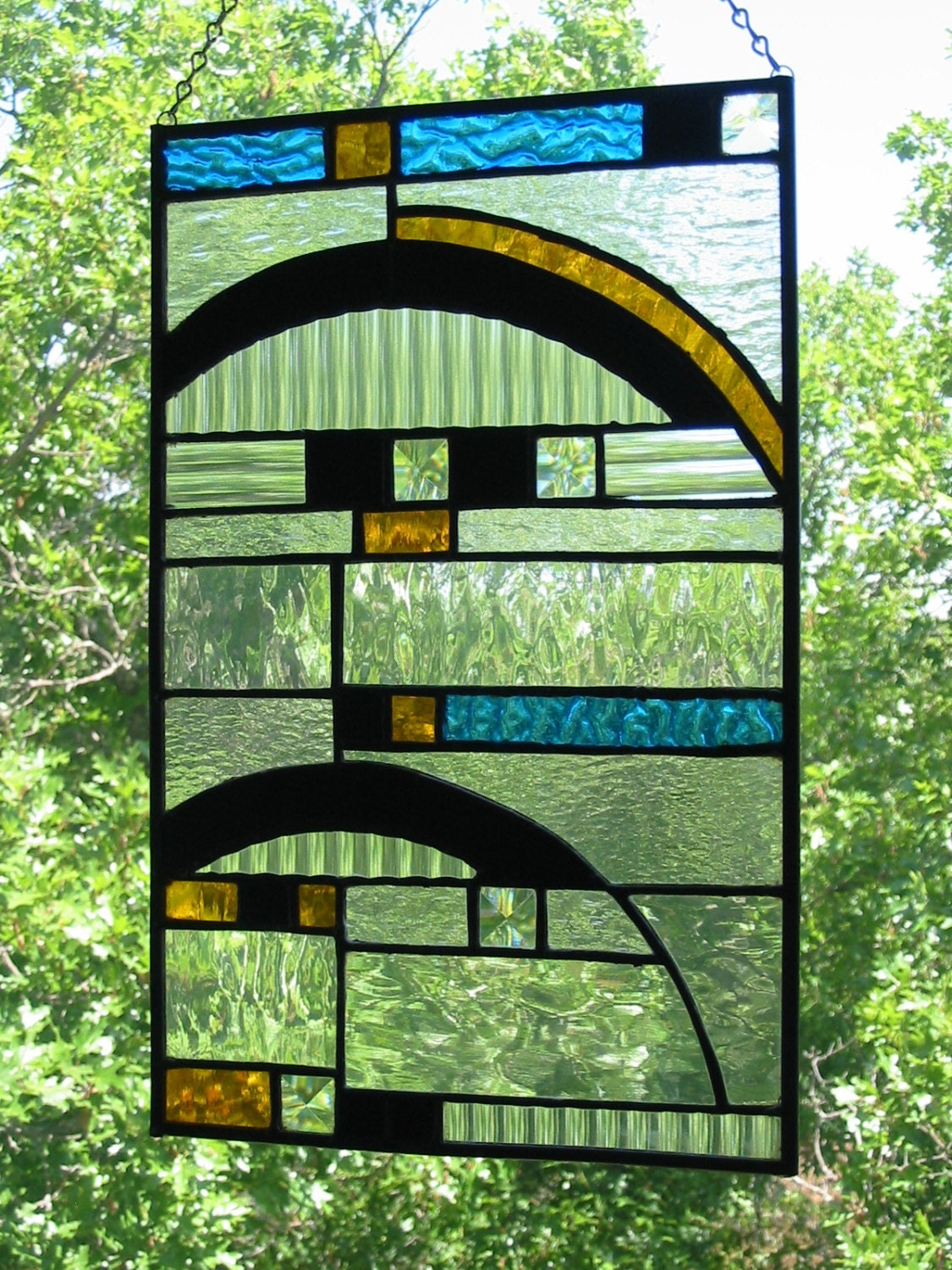 Contemporary stained glass panel free by stainedglasscountry for Contemporary stained glass