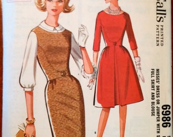 McCall's Pattern 6986 Misses' dress or jumper with slim or full skirt and blouse size 14, bust 34 Pattern (P167)