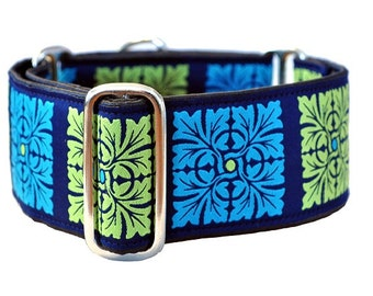 Martingale Collar: Turquoise and Lime Squares - 2 Inch, Greyhound Collar, Martingale Dog Collar, Custom Dog Collar, Whippet Collar