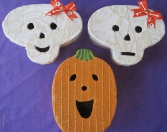 CANDY COFFINs Skull and Pumpkin gift boxes painted and covered in fabric. Fill them with special Trick Or Treat surprises