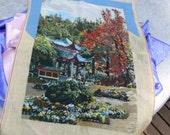 Large Beautiful Needle Point Sampler Asian Theme in the Fall Unfinished