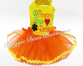 Dog Dress - Dog Tutu Dress - Peace Love Rescue embroidery - Medium