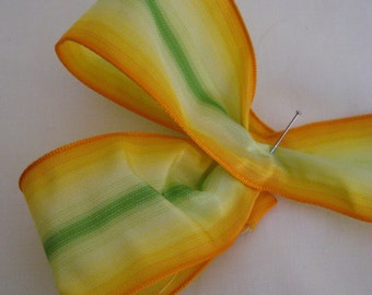 """Yellow/Green Taffeta Ombre Ribbon. 1 1/2"""" - 4cm wide. Sold by the metre"""