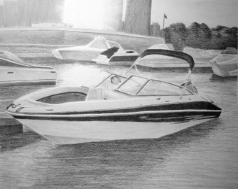 Custom Boat Drawing From Your Photo - 16x20 Original Plane Truck Car Airplane House Pencil Sketch Art From Picture