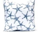 Navy Blue Pillow Cover, Decorative Pillow Cover, Starfish Pillow, Throw Pillow Cover, Nautical Decor, Beach Decor, Decorative Pillow,