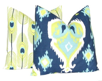 Pillows - Decorative Throw Pillow Covers - Pair of Two - Navy Blue and Lime Green - Navy Blue Pillow Covers - Feathers - Ikat