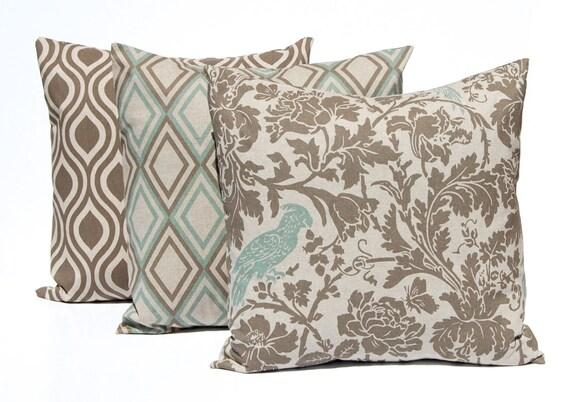 Seafoam Blue Decorative Pillows : Sofa Pillow Covers Couch Pillows THREE Seafoam by FestiveHomeDecor