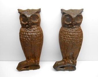 Vintage Cast Iron  Owl Andirons