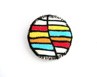 Fabric embroidered brooch, color block jewelry, geometric brooch in red, yellow, orange, turquoise