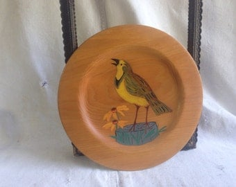 Vintage hand painted wood plate. Hand painted bird  folk art  folk art plate