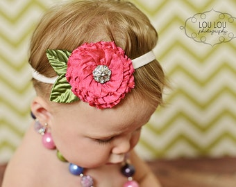 Baby Headband, Vintage Inspired Headband, Shabby Chic Headband, Couture Headband, Newborn Headband, Baby Photo Prop, NO.14-204
