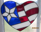 American Flag Heart Stained Glass