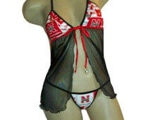 NCAA Nebraska Cornhuskers Lingerie Negligee Babydoll Sexy Teddy Set with Matching G-String Thong Panty