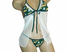 MLB Oakland A's Lingerie Negligee Babydoll Sexy Teddy Set with Matching G-String Thong Panty - Only at Sexy Crushes