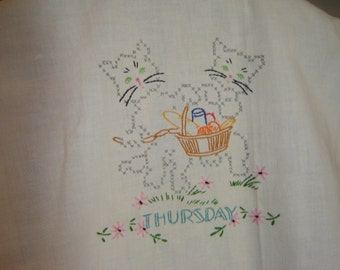 Vintage Kitty Cat Cotton Dish Towel ~ Embroidered ~ Going to Market Basket ~ Picnic Basket ~ Thursday