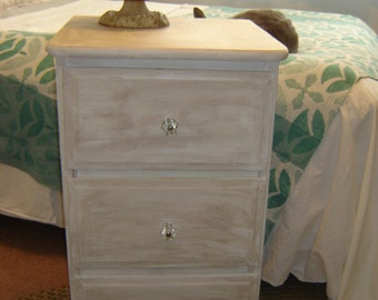 Vintage ~ Bureau ~ Chest ~ Dresser ~ Chippy Cottage Shabby Chic Romantic Lovingly Refurbished White Lightly Antiqued LOCAL PICKUP ONLY