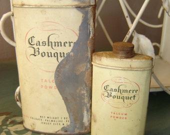 Cashmere Bouquet Talcum Powder ~ Vintage Tins Can Canister ~ Colgate Palmolive Peet Co. ~ Jersey City, N.J.