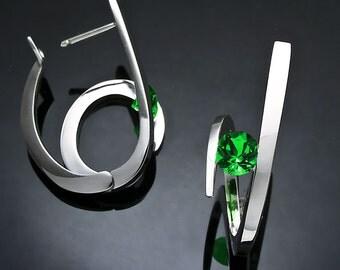 statement earrings, green topaz earrings, hoop earrings, Argentium silver, Christmas earrings, hoop earrings, hinged back earrings- 2429