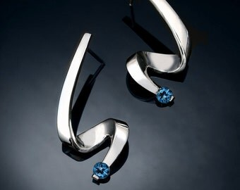 blue topaz earrings - London blue topaz - Argentium silver - December birthstone - eco-friendly - posts - dangle - modern jewelry - 2380