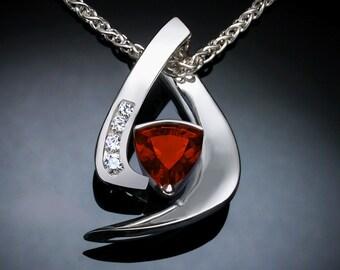 garnet necklace, garnet pendant, silver pendant, white sapphires, January birthstone, Argentium silver, red, modern jewelry - 3369