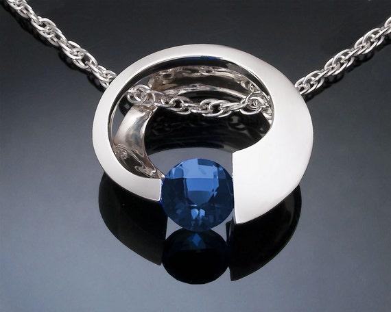 blue topaz pendant, London blue necklace, Argentium silver necklace, December birthstone, artisan gift, tension set, modern jewelry - 3394