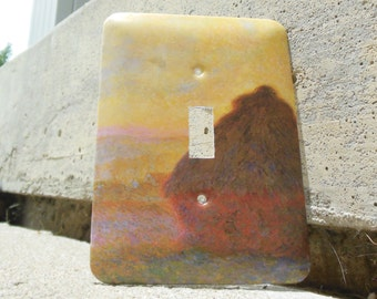 Haystack Sunset Claude Monet Impressionism Light Switch Plate Cover