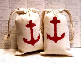 Set of 8 Anchor Hand Stenciled Muslin Favor Bags 4 x 6
