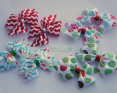 Holiday/Christmas boutique pigtail bows YOU PICK PRINT