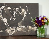 12 x 10 inches, Chocolate heart canvas, brown cream & gold heart canvas with textured detail, original art, fun lively style