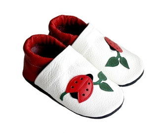 Leather Baby Booties, Baby Shoes, White Green Red Infant Newborn Nursery Children Ladybug