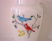 Vintage Glass Pitcher White with Birds on Branch Decoration Juice Size