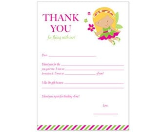 PRINTABLE Fairy Party Fill-In Thank You Card