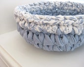 Crochet Blue Rag  Bowl - Crocheted Rag Bowl - Repurposed - EcoFriendly - Rag Crochet - Cotton Bowl