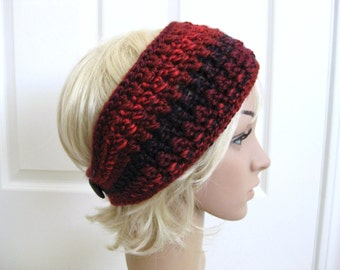Crocheted Headband-Earwarmer-Red with Wood Buttons - Burgundy Crochet Head Band - Crochet Red Ear Warmer - Crochet Earwarmer - Red Headband