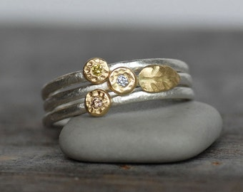 Tiny Diamond Gold Stacking Rings - 18k Gold and Silver Leaf Ring - Diamond Stacking Rings - Set of 3