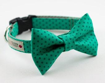Kale Green Polka Dot Bowtie Dog Collar