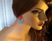 Houndstooth Leather Earrings in Black , White, and Red. Pierced ear post