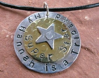 Tripawd Superstar Custom Charm in Silver Aluminum and Brass
