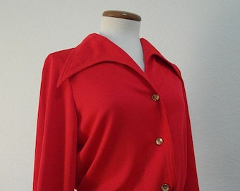 Vintage I. Magnin 70s Blouse Red Wing Tip Collar Red Small SALE