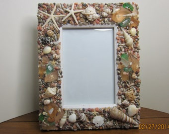 Beach decor Seashell multi colored sea glass frame