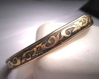 Antique Gold Bangle Bracelet Floral Victorian Art Deco