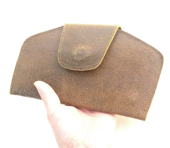 Leather Wallet, women brown purse, Rough clutch, Christmas gift