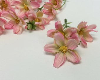 Silk Flowers - 24 PINK Baby Cosmos - TINY FLOWERS - Artificial Flowers
