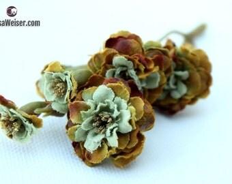 Primroses - Pom Pom Roses in Khaki Green - VERY SMALL FLOWERS -  Artificial Flowers