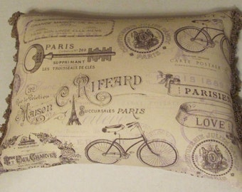 Shabby Country French Cottage Toile Pillow Romantic Chic Ivory Yellow La Dolce Vita