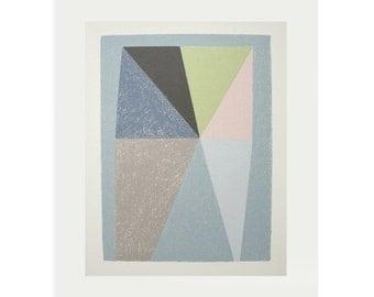 Geometric screenprint, Mid Century Modern, Abstract handmade silkscreen print, blue, grey, modern, original wall art, Emma Lawrenson.