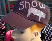 Glitter Personalized Stock Show FFA/4-H animal Cadet Cap