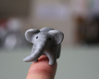 Animal figurine polymer clay totem gray elephant